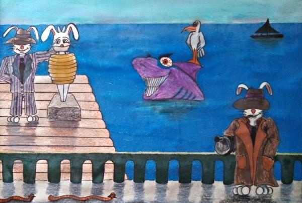 Bunny Mafia colored pencil cartoon