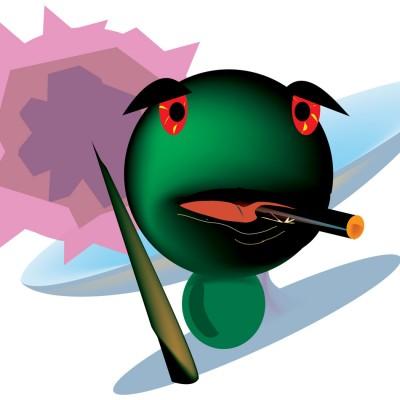 Frog Olive digital illustration