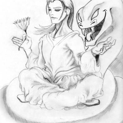 Vishnu Seated pencil sketch